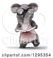 Clipart Of A 3d Happy Bespectacled Koala Walking And Reading A Book Royalty Free Illustration