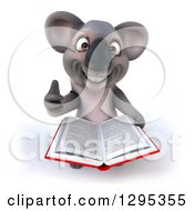 Clipart Of A 3d Happy Koala Holding Up A Thumb And An Open Book Royalty Free Illustration