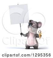 Clipart Of A 3d Happy Koala Holding An Ice Cream Cone And A Blank Sign And Looking Up Royalty Free Illustration
