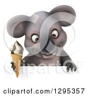 Clipart Of A 3d Happy Koala Holding An Ice Cream Cone And Looking Down Over A Sign Royalty Free Illustration