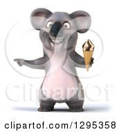 Clipart Of A 3d Happy Koala Holding An Ice Cream Cone And Pointing Royalty Free Illustration