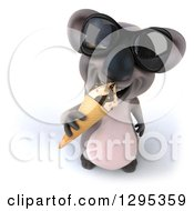Clipart Of A 3d Happy Koala Looking Up Wearing Sunglasses And Eating An Ice Cream Cone Royalty Free Illustration
