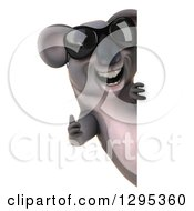 Clipart Of A 3d Happy Koala Wearing Sunglasses And Giving A Thumb Up Around A Sign Royalty Free Illustration