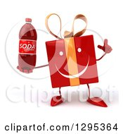 Clipart Of A 3d Happy Red Gift Character Holding Up A Finger And A Soda Bottle Royalty Free Illustration
