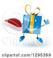 Clipart Of A 3d Happy Blue Gift Character Jumping And Holding A Beef Steak Royalty Free Illustration