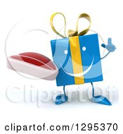 Clipart Of A 3d Happy Blue Gift Character Holding Up A Finger And A Beef Steak Royalty Free Illustration
