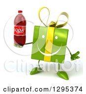 Clipart Of A 3d Happy Green Gift Character Shrugging And Holding A Soda Bottle Royalty Free Illustration