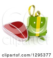 Clipart Of A 3d Happy Green Gift Character Holding Up A Beef Steak Royalty Free Illustration