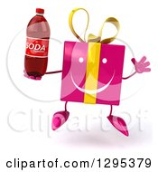 Clipart Of A 3d Happy Pink Gift Character Jumping And Holding A Soda Bottle Royalty Free Illustration