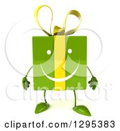 Clipart Of A 3d Happy Green Gift Character Royalty Free Illustration