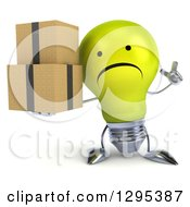 Clipart Of A 3d Unhappy Yellow Light Bulb Character Holding Up A Finger And Boxes Royalty Free Illustration