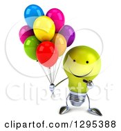 Clipart Of A 3d Happy Yellow Light Bulb Character Holding And Pointing To Party Balloons Royalty Free Illustration