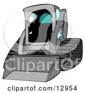 Gray Bobcat Skid Steer Loader With Blue Window Tint Clipart Graphic Illustration by djart