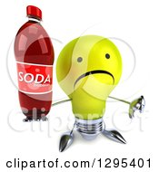 Clipart Of A 3d Unhappy Yellow Light Bulb Character Holding Up A Thumb Down And A Soda Bottle Royalty Free Illustration