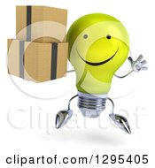 Clipart Of A 3d Happy Yellow Light Bulb Character Holding Boxes And Jumping Royalty Free Illustration