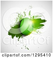 Clipart Of A 3d Shiny Green Easter Egg Over Grunge On Shaded White Royalty Free Vector Illustration