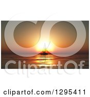 3d Silhouetted Sailboat Gaainst An Orange Ocean Sunset