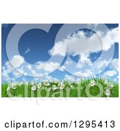 Clipart Of A 3d Sunny Spring Day Background With Blue Sky Clouds Daisies And Grass Royalty Free Illustration