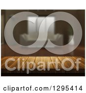 Clipart Of A 3d Close Up Of A Wooden Table And A Blurred Living Room Royalty Free Illustration