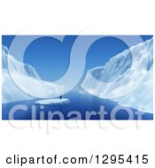 Clipart Of A 3d Lone Penguin Floating On Ice Royalty Free Illustration by KJ Pargeter