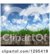 Clipart Of A 3d Aged Wooden Table With Green Grass And Sunshine Royalty Free Illustration by KJ Pargeter