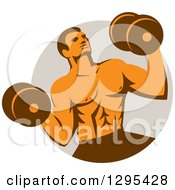 Clipart Of A Retro Muscular Male Crossfit Bodybuilder With Dumbbells Emerging From A Taupe Circle Royalty Free Vector Illustration by patrimonio