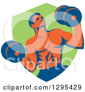 Clipart Of A Retro Muscular Male Crossfit Bodybuilder With Dumbbells Emerging From A Green Shield Royalty Free Vector Illustration