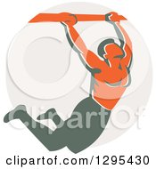 Clipart Of A Retro Strong Male Bodybuilder Doing Pull Ups On A Bar Over A Taupe Circle Royalty Free Vector Illustration