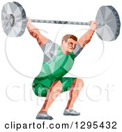 Clipart Of A Retro Low Poly White Male Bodybuilder Squatting With A Barbell Royalty Free Vector Illustration