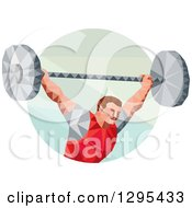 Clipart Of A Retro Low Poly White Male Bodybuilder Squatting With A Barbell In A Circle Royalty Free Vector Illustration