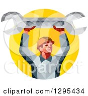 Clipart Of A Retro Low Poly Male Mechanic Holding Up A Spanner Wrench In A Yellow Circle Royalty Free Vector Illustration