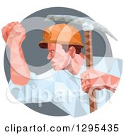 Clipart Of A Retro Low Poly Male Coal Miner With A Pickaxe And Fist In A Gray Circle Royalty Free Vector Illustration