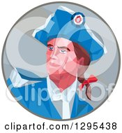 Clipart Of A Low Polygon Styled American Patriot Soldier Looking Up To The Left In A Circle Royalty Free Vector Illustration