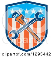 Clipart Of A Crossed Plumber Monkey Wrench And Spanner Wrench In An American Shield Royalty Free Vector Illustration