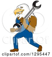 Clipart Of A Cartoon Bald Eagle Mechanic Walking With A Wrench Royalty Free Vector Illustration