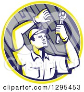 Clipart Of A Retro Male Mechanic Working Uner A Car Chassis In A Yellow White And Gray Circle Royalty Free Vector Illustration
