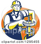 Clipart Of A Retro Male Pipe Fitter Plumber Turning A Valve In An Orange Oval Royalty Free Vector Illustration