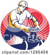 Clipart Of A Retro Male Pipe Fitter Plumber Turning A Valve In An Oval Of Red Rays Royalty Free Vector Illustration