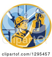 Clipart Of A Retro Male Pipe Fitter Plumber Working In A Yellow And Blue Oval Royalty Free Vector Illustration