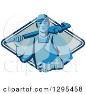 Clipart Of A Retro Blue Male Plumber Holding A Monkey Wrench Over His Shoulder In A Blue And White Diamond Royalty Free Vector Illustration