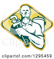 Clipart Of A Retro Male Plumber Holding A Monkey Wrench By A Tank In A Yellow Green And White Ray Diamond Royalty Free Vector Illustration