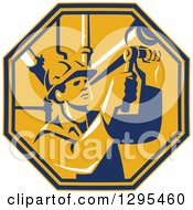Clipart Of A Retro Male Pipe Fitter Plumber Working In A Yellow And Orange Octagon Royalty Free Vector Illustration