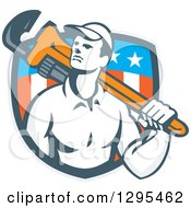 Clipart Of A Retro Male Plumber Holding A Monkey Wrench Over His Shoulder In An American Shield Royalty Free Vector Illustration