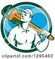 Clipart Of A Retro Male Plumber Holding A Monkey Wrench Over His Shoulder In A Blue White And Green Circle Royalty Free Vector Illustration
