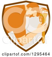 Clipart Of A Retro Male Plumber Bowing And Holding A Monkey Wrench To His Head In A Shield Royalty Free Vector Illustration