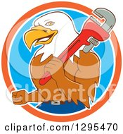 Clipart Of A Cartoon Bald Eagle Plumber With A Monkey Wrench In An Orange White And Blue Circle Royalty Free Vector Illustration