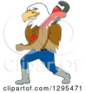 Clipart Of A Cartoon Bald Eagle Plumber Walking With A Monkey Wrench Royalty Free Vector Illustration