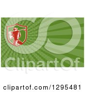 Clipart Of A Retro Woodcut Male Golfer And Green Rays Background Or Business Card Design Royalty Free Illustration