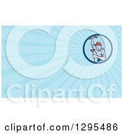Poster, Art Print Of Cartoon Male Plumber Holding A Monkey Wrench And Plunger And Blue Rays Background Or Business Card Design