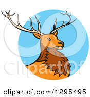 Clipart Of A Cartoon Red Buck Deer Emerging From A Blue Circle Royalty Free Vector Illustration by patrimonio